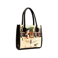 New Fashion Women Leather Handbags PU Designer Brand Vintage Printing Handbag Oil Painting Small Shoulder Bag Women Desigual