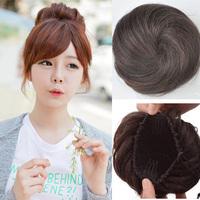 New Womens Synthetic Hair Alba Taoist Headwear Magic Bun Clip In on Elastic Net Hair Bun Chignon Ponytail Drawstring Hairpiece