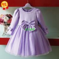 2014 children's wear purple  girl children long sleeved dress princess  girls princess