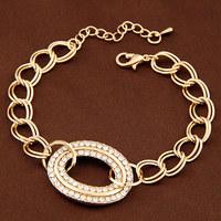 Wholesale New Style Alloy Metal Women Bracelets Gold Silver Crystal Rhinestone Circle Chain Bracelet FB0262