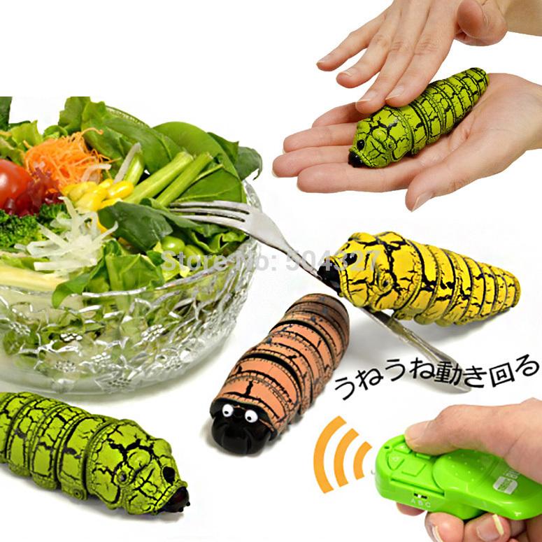Free Shipping 1Piece Creepy-Crawly Raji Konchu Remote Control Caterpillar Bug / Radio Control Insect Toy(China (Mainland))