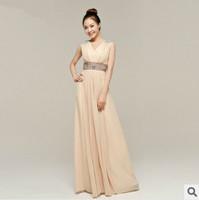 free shipping 2014 pink beaded shoulder empire waist v neck long evening dresses women long dress