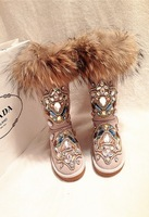 2015 Luxury Women Crystal Snow Boots Warm Flats Knee High Winter Boots Rhinestone Botas Fox Fur Genuine Leather Motorcycle Boots