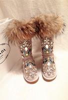 2015 Luxury Women Crystal Snow Boots Warm Flats Knee High Winter Boots Rhinestone Botas Fox Fur Genuine Leather Motorcycle Boots