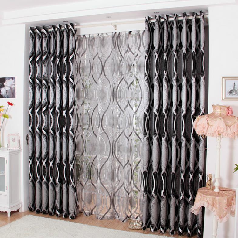 rideau ombre noir et blanc pour chambre salon atmosphrique - Rideaux Pour Salon Noir Blanc