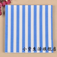 100pcs blue and white Vertical stripes tissue paper napkin wedding baby shower tissue serviettes event holiday party decorations