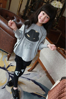 The latest suit children 100% cotton, cartoon hat girl batwing coat suits, spring + 2 dresses of the girls fall (coat and pants)