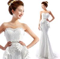 2014 crystal Flower Princess Bride lace overlay fishtail trailing wedding dress sexy new mermaid dress cheap