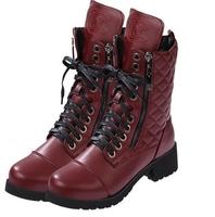 chaussure femme autumn Ankle Boots heels platform  Women BLACK Motorcycle Boots Leather botas Shoes woman BW65