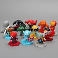 The Avengers Superheroes Hulk Spiderman Thor Iron Man Black Widow Mini PVC Figure Toys Dolls 4CM 12pcs/set HRFG115