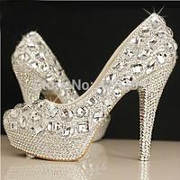 Crystal shoes wedding shoes high heel bride rhinestone pearl wedding dinner princess plus size single shoes