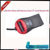 High quality USB 2.0 Mini T-Flash Micro SD Memory Card TF Card Reader M2 Black free shipping 1pcs/lot