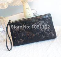 Free Shipping black network Small portable wash bag cosmetic bag with packing/Cosmetic Bags/Net yarn bag/Handbags