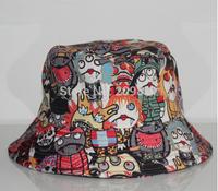 2014 winter bucket hats for halloween men women hip hop sun cap print cartoon graffiti