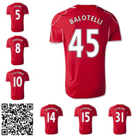 Wholesale 45 BALOTELLI 2014 2015 red home soccer jersey GERRARD jersey 14 15 top thai quality AGGER football shirts