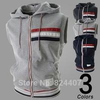 Men's Casual Sleeveless Hooded Hoodies Cardigan Zip Sweatshirts Vest sudaderas hombre chandal Outdoor Sport Clothing Tracksuit