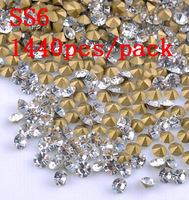 FREE SHIPPING!SS6 1440pcs DIY Crystal Point Back Rhinestones Strass Crystal Stones For Nails Art Crafts Wedding Dress Decoration