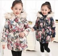 3-14Y Casual Children Winter Outwear Warm Reima Style Lassie Girls Winter Coat Hooded Flower Children's Jackets Clothing