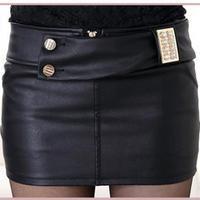 Autumn Winter Basic Short mini Skirts For Women Slim Hip Classic Fashion PU leather Skirts sexy saias femininas casual black