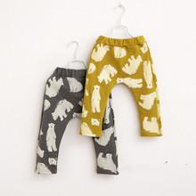 Hu Sunshine wholesale new 2014 fashion cotton Autumn children polar bear trousers harem pants cotton terry children WW11021561H(China (Mainland))