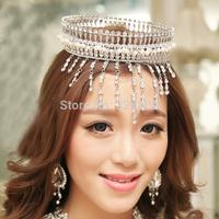 luxury macrame crystal wedding big crown Fashion princess party crown bridal hair jewelry diadem crown accessories