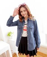 2014 new women's 9259 line Sen female personality washing shoulder long sleeved shirt embroidered denim shirt