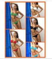 2013 New arrival Sexy Womens captain Metal Pendant Swimwear Strapless Padded Bikini Women Beachwear