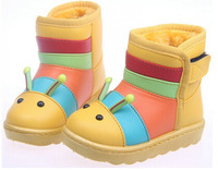 Hot sale 2014  Fashion Lovely Warm Baby Children Boots Waterproof Winter for Boy and Girl (Color:Yellow,Blue,Coffee)