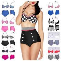 Fast&Drop Shipping Good quality New 2014 Cute Retro High waist Swimsuit Swimwear set Push Up High Waist Bikini Set Size S/M/L/XL