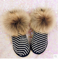 Fashion black full grain leather snow boots for woman new cotton-padded winter shoes luxury fox fur warm boots