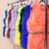 2014 Must Have Genuine Ostrich Fur Vest, Luxury Real Turkey Feather Real Fur Sleeveless Jacket