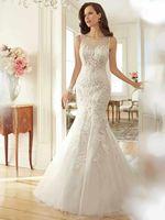 Cap Sleeves Luxury V-Neck Long Lace Wedding Dresses Crystal Beaded Bridal Gowns Vestidos de Novia Custom Made 2014