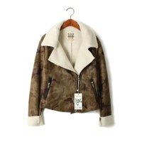 2014 new hot selling European style big fur collar diagonal zipper lambs wool motorcycle jacket camouflage jacket women 110303