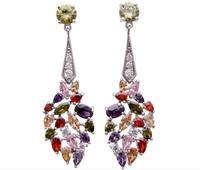 2014 Hotselling  Zircon Earrings Sparking Multicolor Zircon Drop Earrings Wedding Jewelry Christmas Gifts Accessories