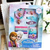 Children Party Supplies Accessories Frozen necklace Sets Wand Elsa Anna Princess Crown Hair Accessories For Girls Gift