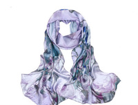100% mulerry silk pure silk scarf 170cm*50cm long  scarf ,light purple  new arrival digital printing scarves