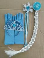 4pcs/set Frozen Elsa Anna Snow Magic Wand Christmas Girl Gift Magic Wand + Rhinestone Hair Crown + Glove+Hair Braid