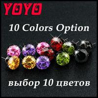 925 Sterling Silver Stud Earrings For Women,2014 Brand Pendientes Fashion Jewelry Cubic Zircon Diamond Crystal Earring Brincos