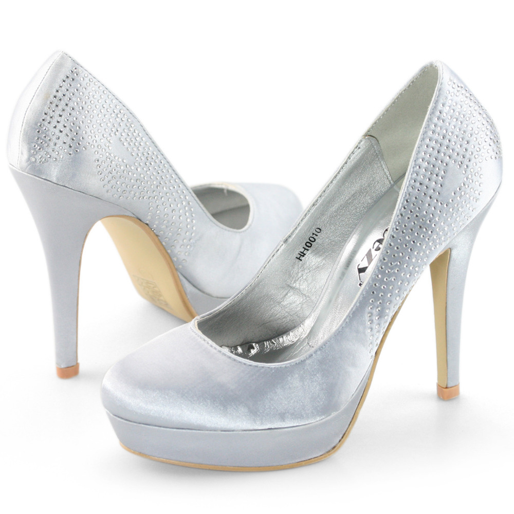 Silver Glitter Pumps Closed Toe Closed Toe Satin Silver