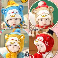 HT-1467   free shipping baby girls  boys winter hats & scarves suite Monkey Style  children's winter hats warm earmuff  hats