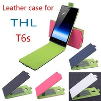 Free shipping Up and Down Flip leather case Contrast Color for THL T6S Leather Cover
