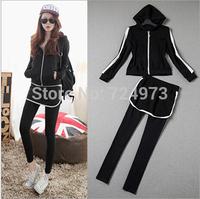 Black color plus size hot sale women long sleeves autumn clothing set tracksuits,fashion slim fit jogging suits women sportswear