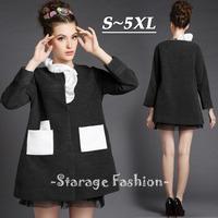 S-5XL Brand Ladies Women Long Wool Coat 2014 New Fashion Autumn Winter Woolen Outerwear Plus Size Long Sleeve Overcoat G261