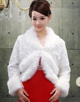 High quality faux fur shawl wedding shawl ivory bride long-sleeve cape winter