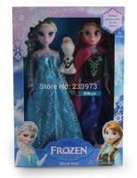 Without Original Box, 3PCS/Set Frozen Princess 11.5 inch Frozen Doll Frozen Elsa And Anna Fashion Doll For Children Best Gift