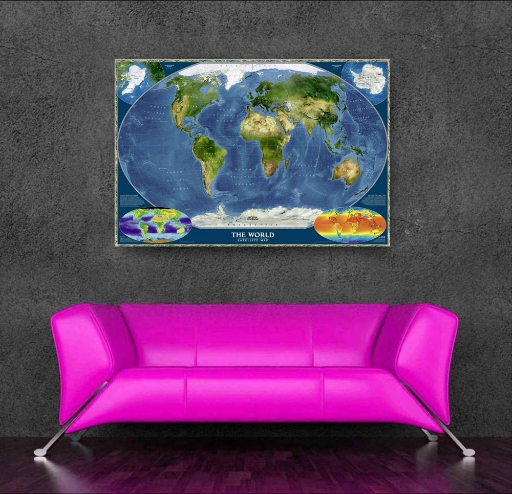 Haute pixel personnalis moderne carte du monde toile art for Acheteur maison du monde