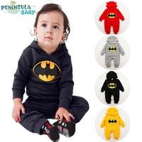 On sale 12 pcs/lot Winter Cotton Girl/Boy/Baby Long-sleeve Bodysuits, Kid hooded jumpsuit climbing clothes,cartoon jump suit