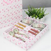 Ceramic wankuai spoon tableware 6 piece set bamboo chopsticks spoon high quality porcelain tableware