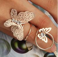 Hotsale Fashion Alloy Rhinestone Butterfly Ring For Women  Jewelry Wholesale