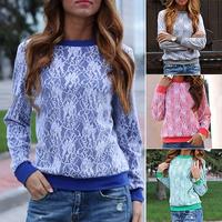 FanShou Shipping 2014 Women Hoody Fashion Long Sleeve Sweatshirts Floral Lace Hoodies Pullovers Casual Sweatshirts Moleton